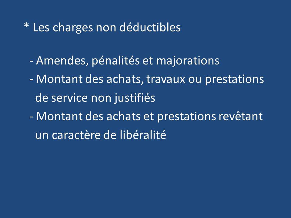 * Les charges non déductibles