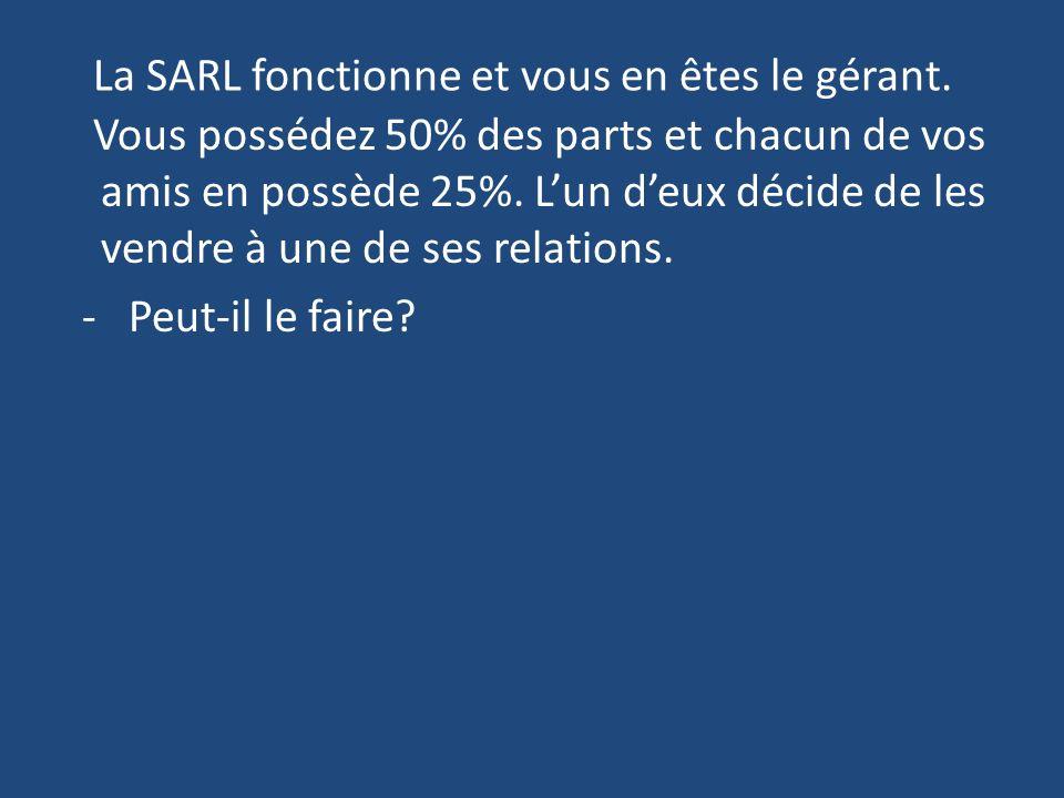 La SARL fonctionne et vous en êtes le gérant.