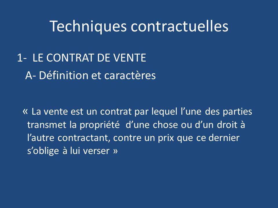 Techniques contractuelles