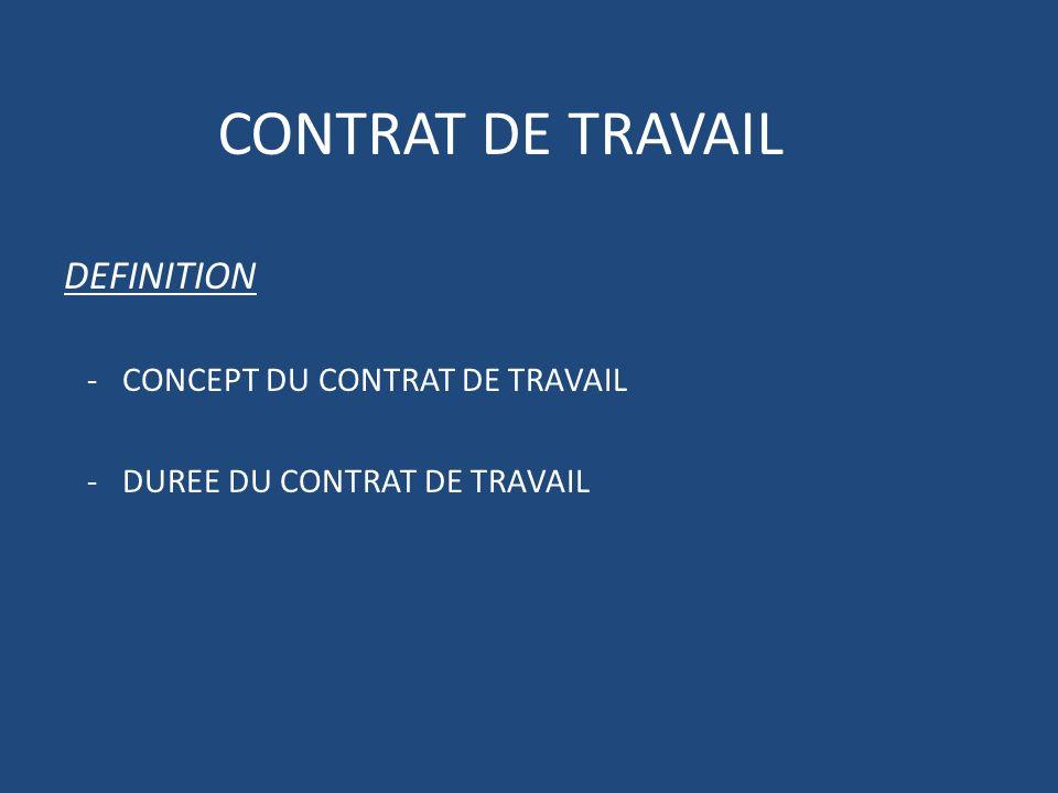 CONTRAT DE TRAVAIL DEFINITION - CONCEPT DU CONTRAT DE TRAVAIL