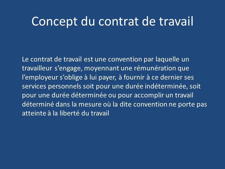 Concept du contrat de travail