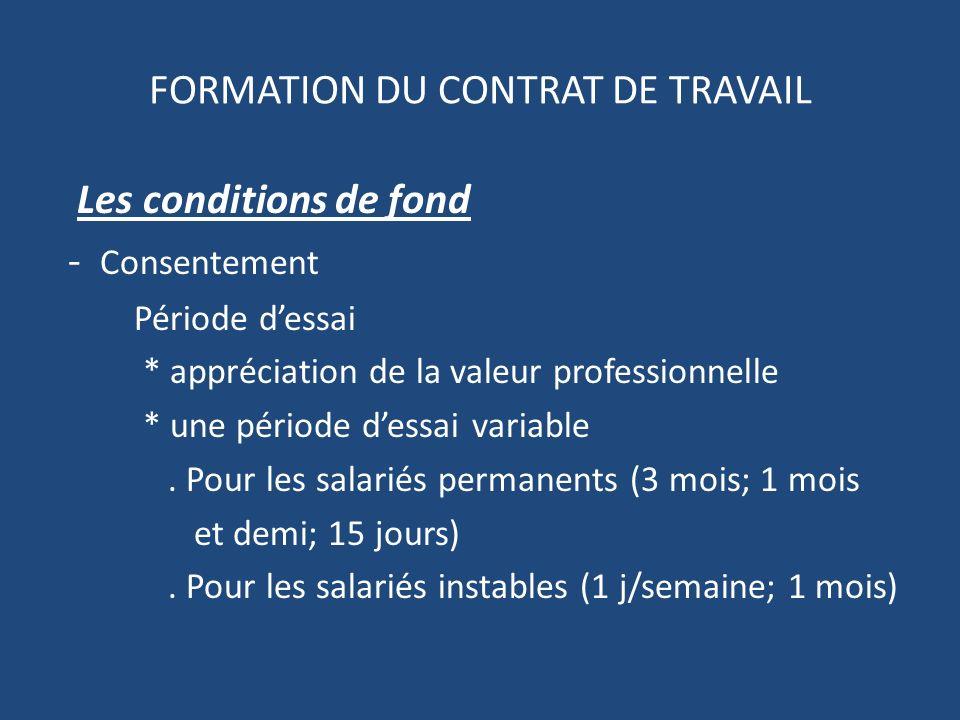 FORMATION DU CONTRAT DE TRAVAIL