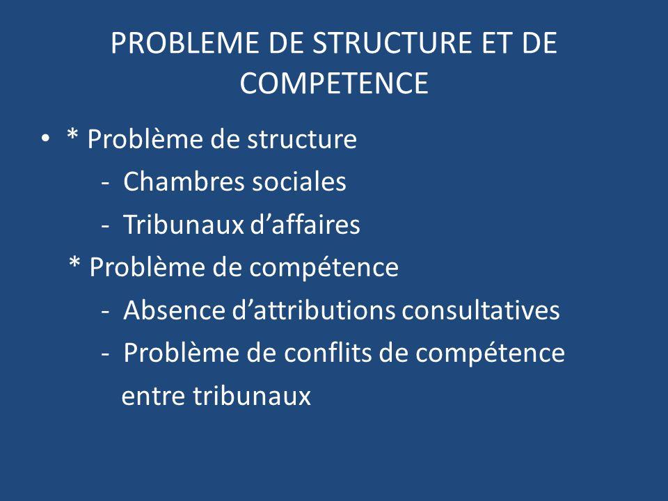 PROBLEME DE STRUCTURE ET DE COMPETENCE