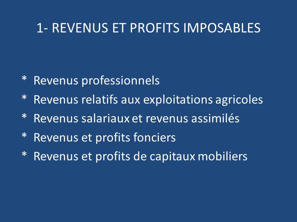 1- REVENUS ET PROFITS IMPOSABLES