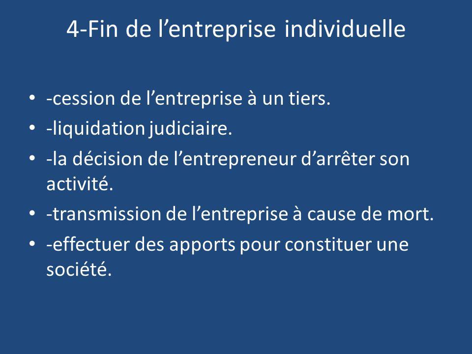 4-Fin de l'entreprise individuelle