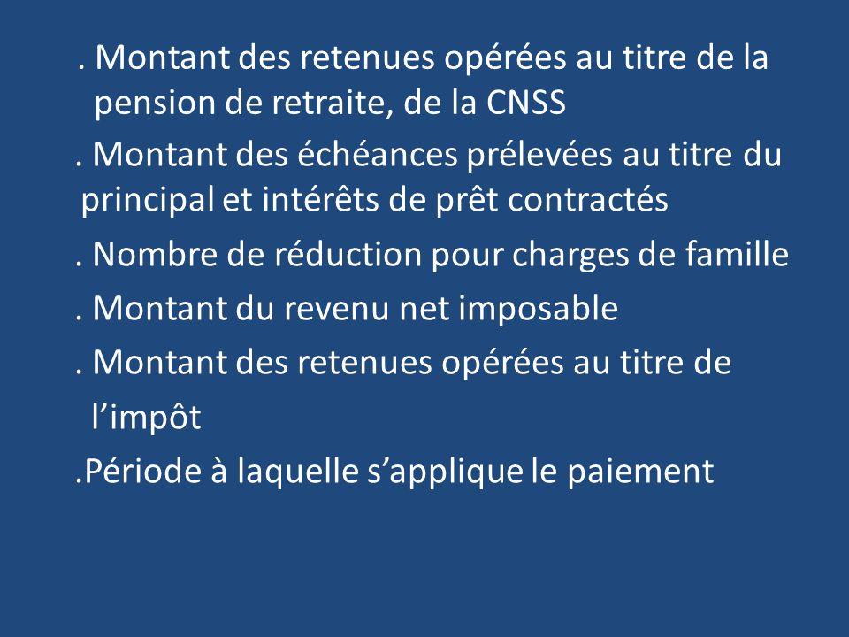 . Montant des retenues opérées au titre de la pension de retraite, de la CNSS