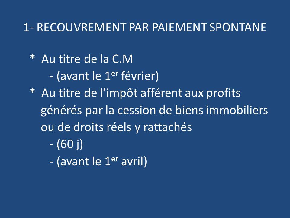 1- RECOUVREMENT PAR PAIEMENT SPONTANE