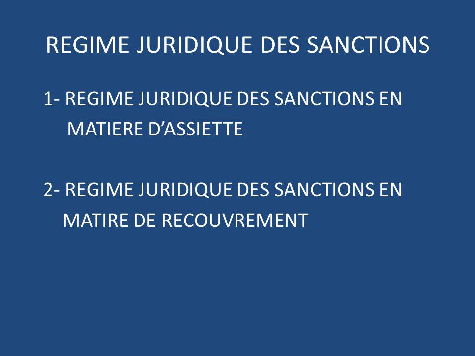 REGIME JURIDIQUE DES SANCTIONS