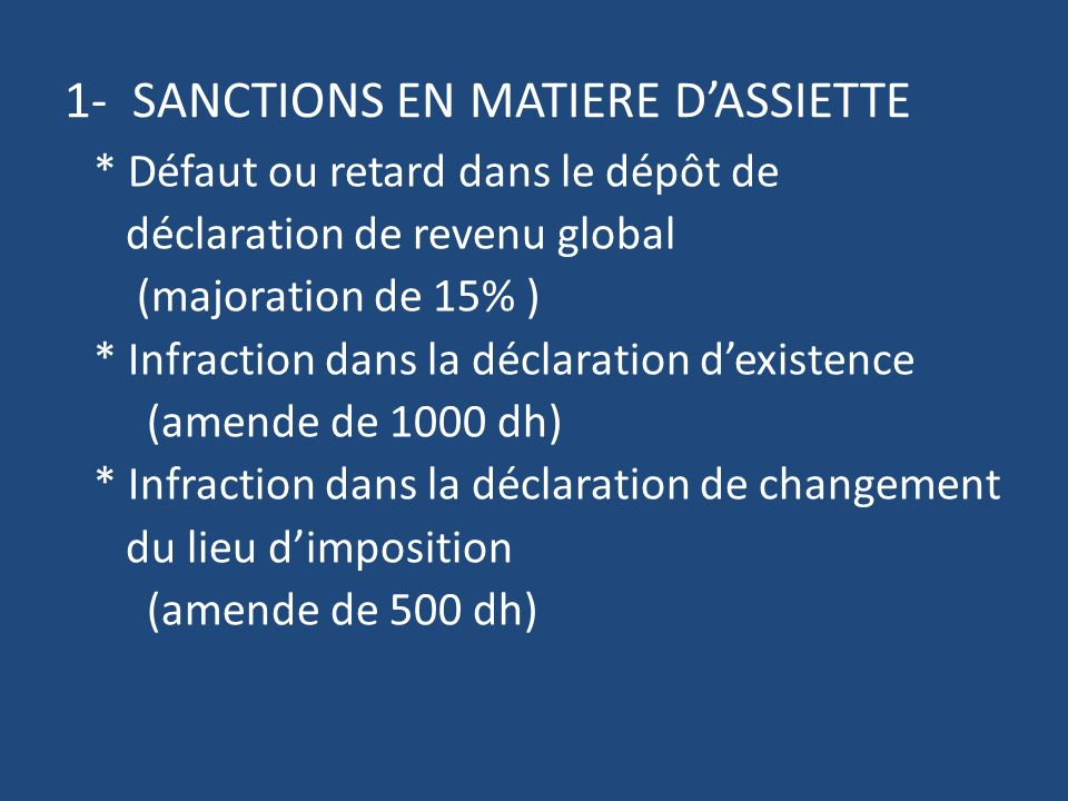 1- SANCTIONS EN MATIERE D'ASSIETTE