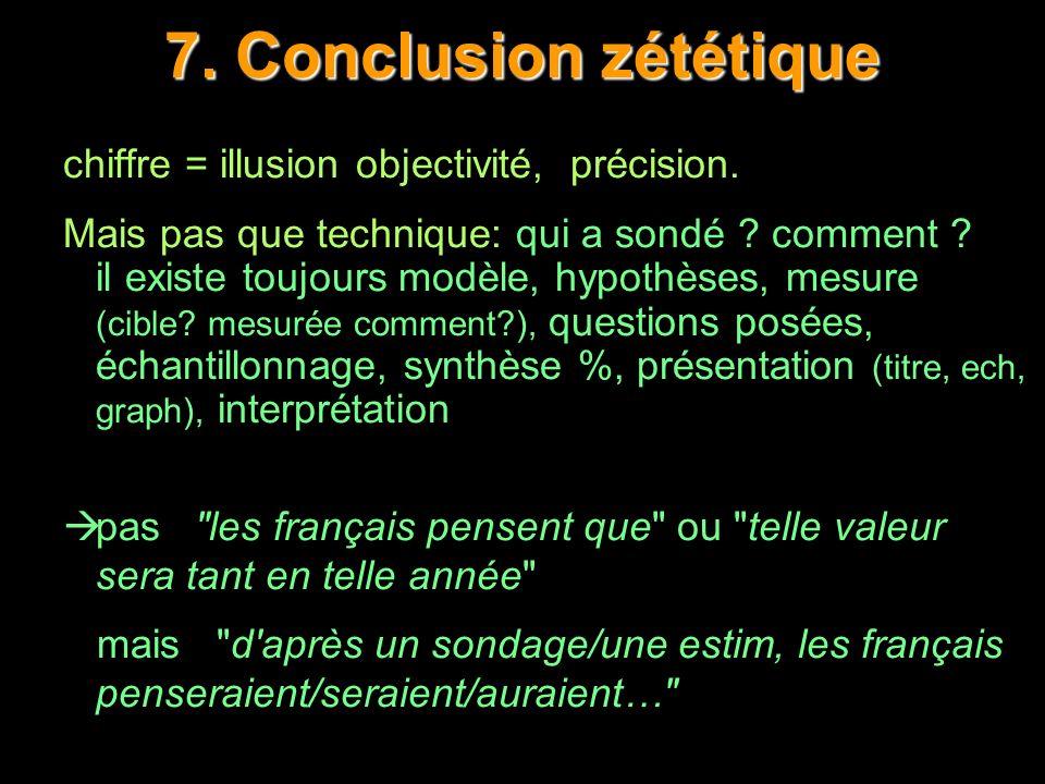 7. Conclusion zététique chiffre = illusion objectivité, précision.