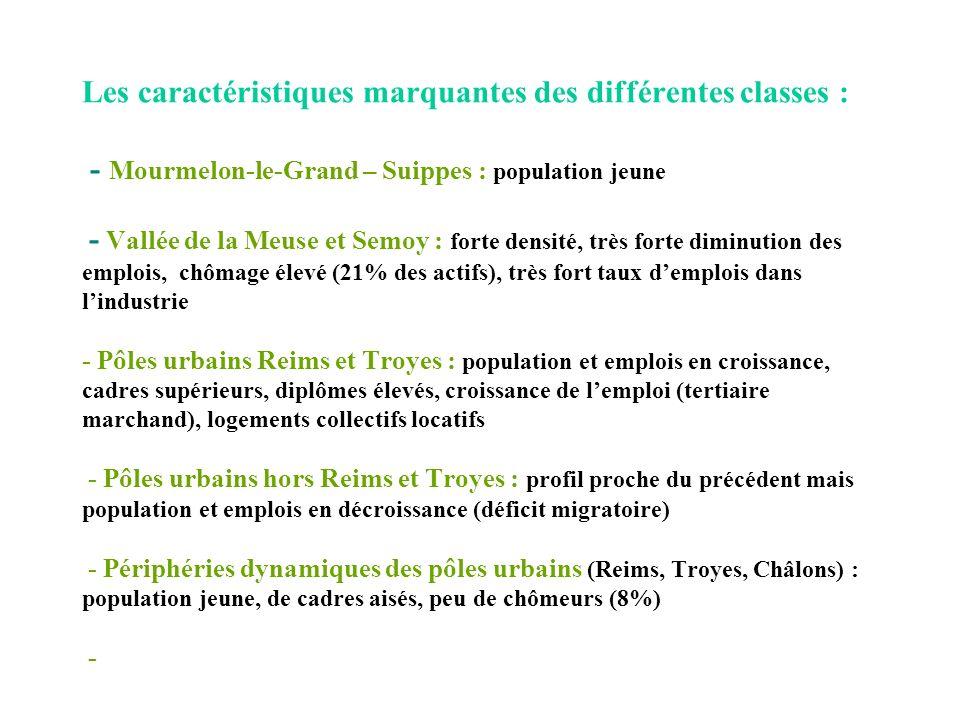 Les caractéristiques marquantes des différentes classes : - Mourmelon-le-Grand – Suippes : population jeune - Vallée de la Meuse et Semoy : forte densité, très forte diminution des emplois, chômage élevé (21% des actifs), très fort taux d'emplois dans l'industrie - Pôles urbains Reims et Troyes : population et emplois en croissance, cadres supérieurs, diplômes élevés, croissance de l'emploi (tertiaire marchand), logements collectifs locatifs - Pôles urbains hors Reims et Troyes : profil proche du précédent mais population et emplois en décroissance (déficit migratoire) - Périphéries dynamiques des pôles urbains (Reims, Troyes, Châlons) : population jeune, de cadres aisés, peu de chômeurs (8%) -