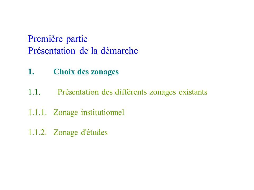 Première partie Présentation de la démarche 1. Choix des zonages 1. 1