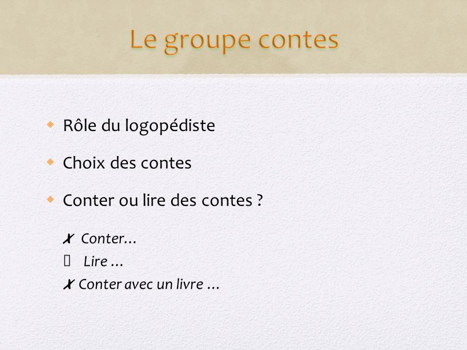 Le groupe contes Rôle du logopédiste Choix des contes