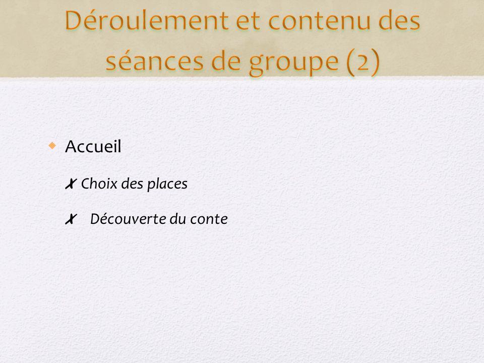 Déroulement et contenu des séances de groupe (2)