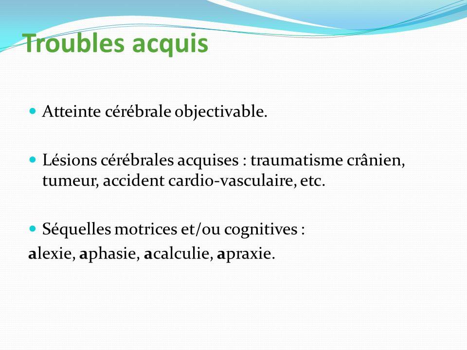 Troubles acquis Atteinte cérébrale objectivable.