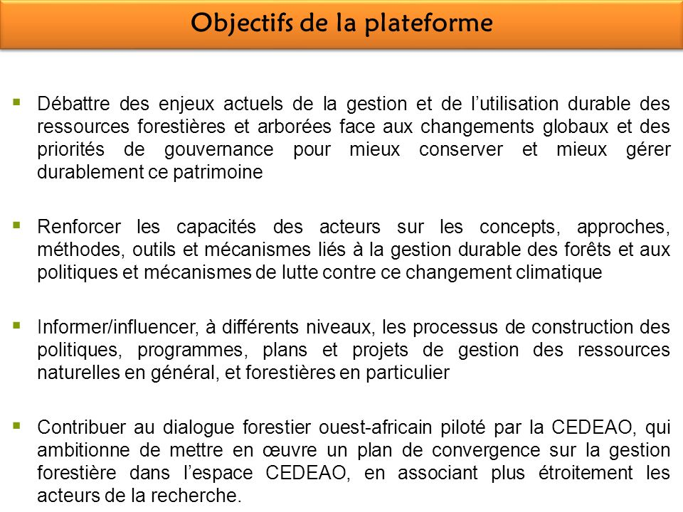 Objectifs de la plateforme