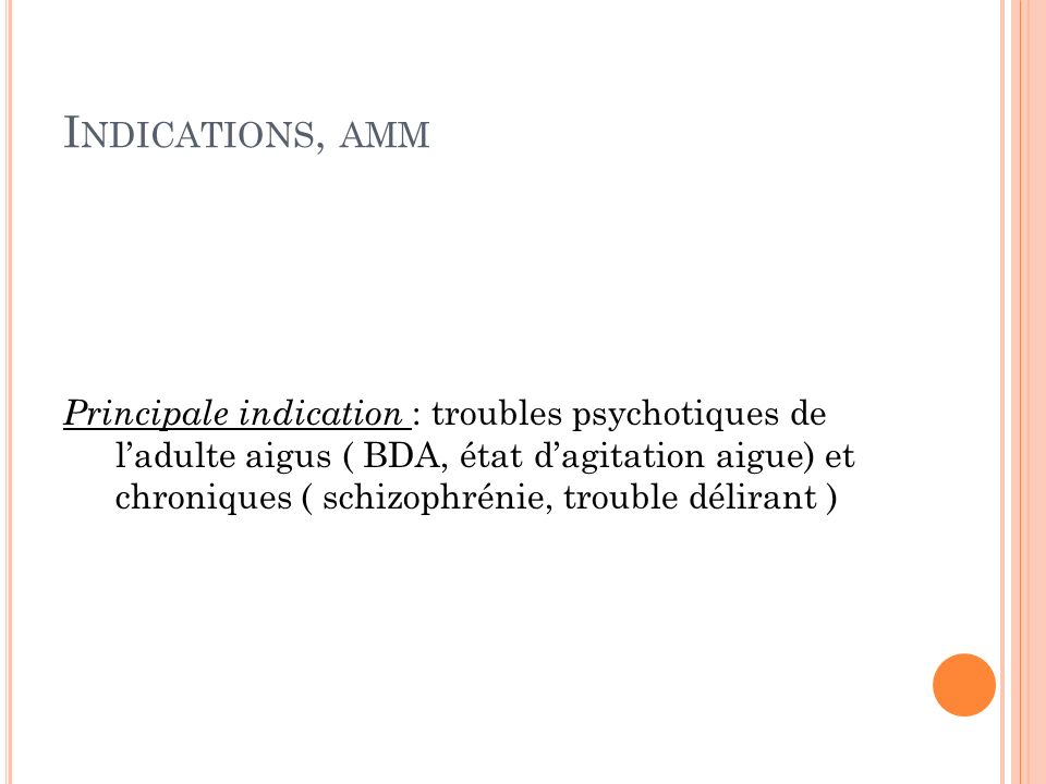 Indications, amm