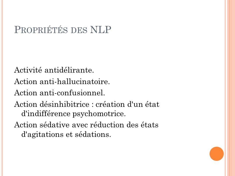 Propriétés des NLP Activité antidélirante. Action anti-hallucinatoire.