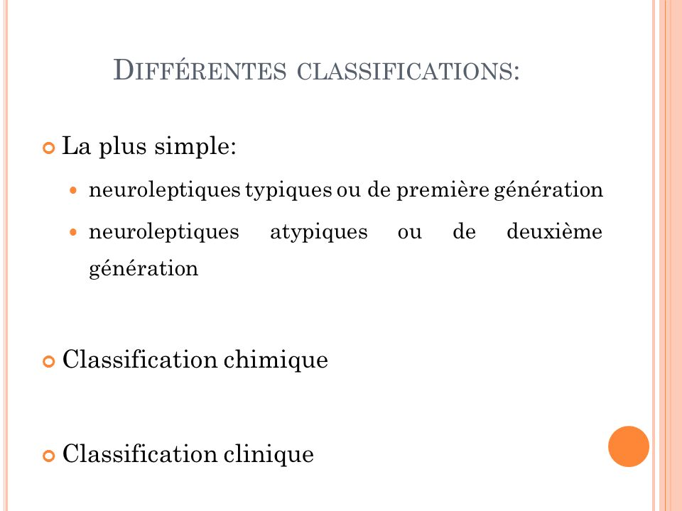 Différentes classifications: