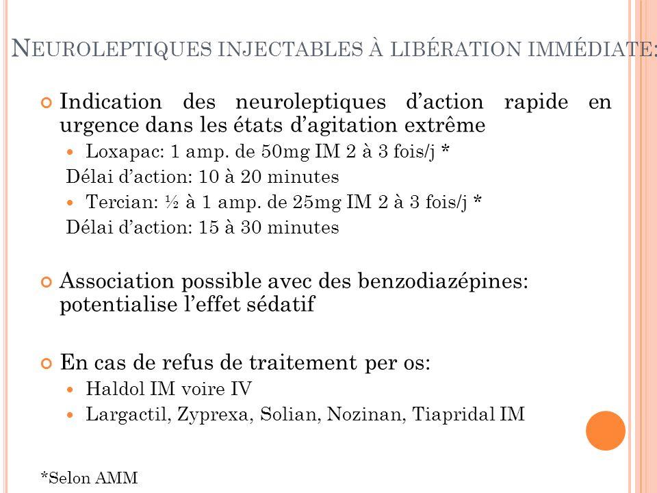 Neuroleptiques injectables à libération immédiate: