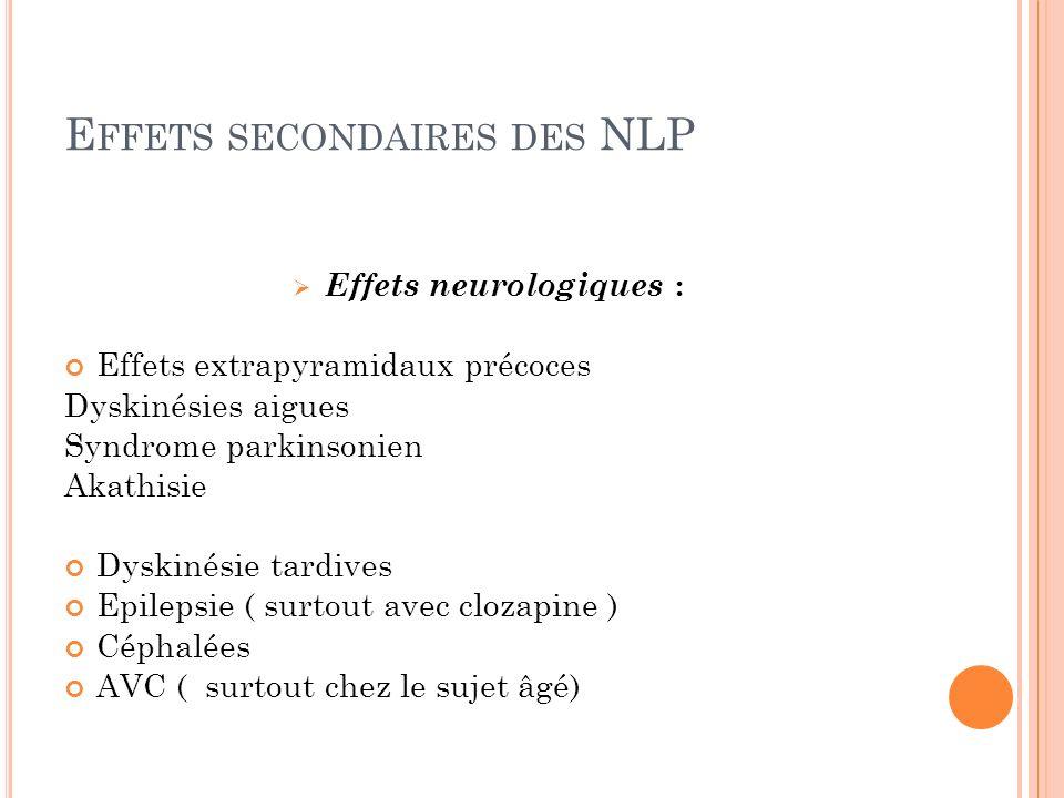 Effets secondaires des NLP