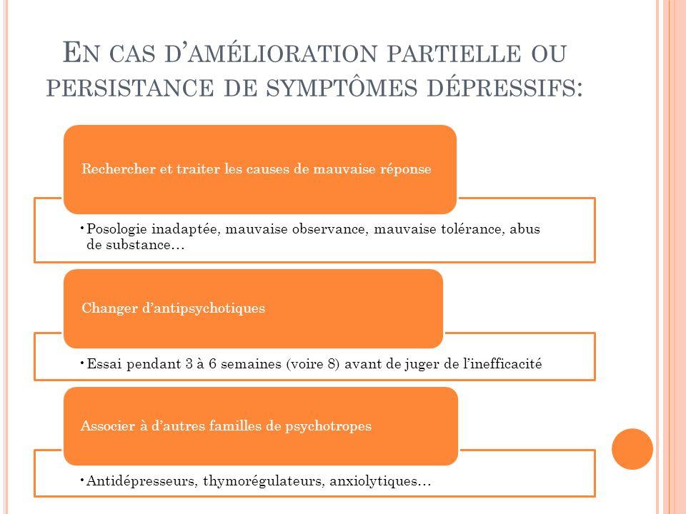 En cas d'amélioration partielle ou persistance de symptômes dépressifs: