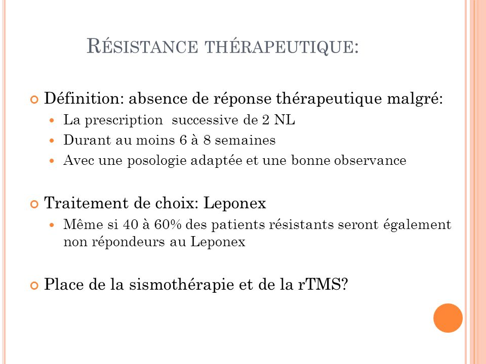 Résistance thérapeutique:
