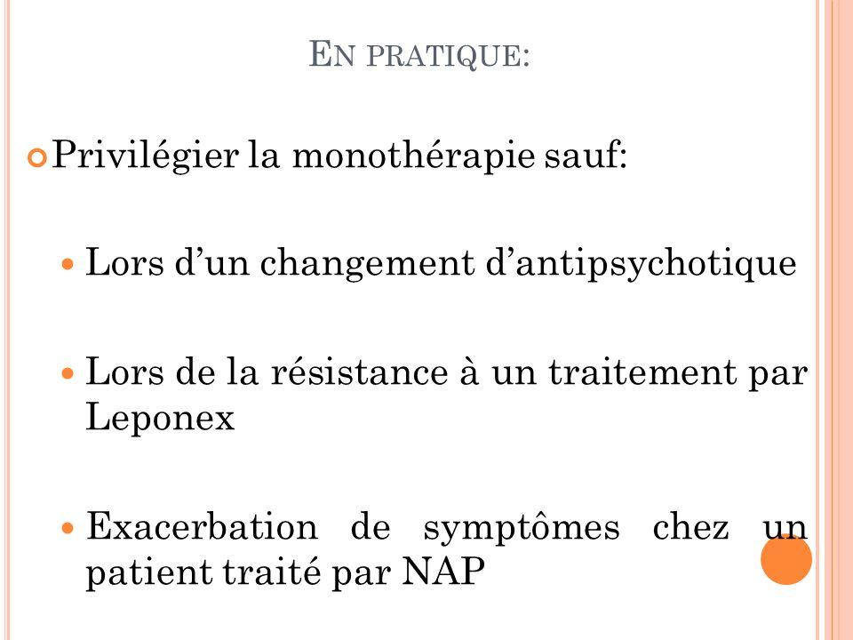Privilégier la monothérapie sauf: