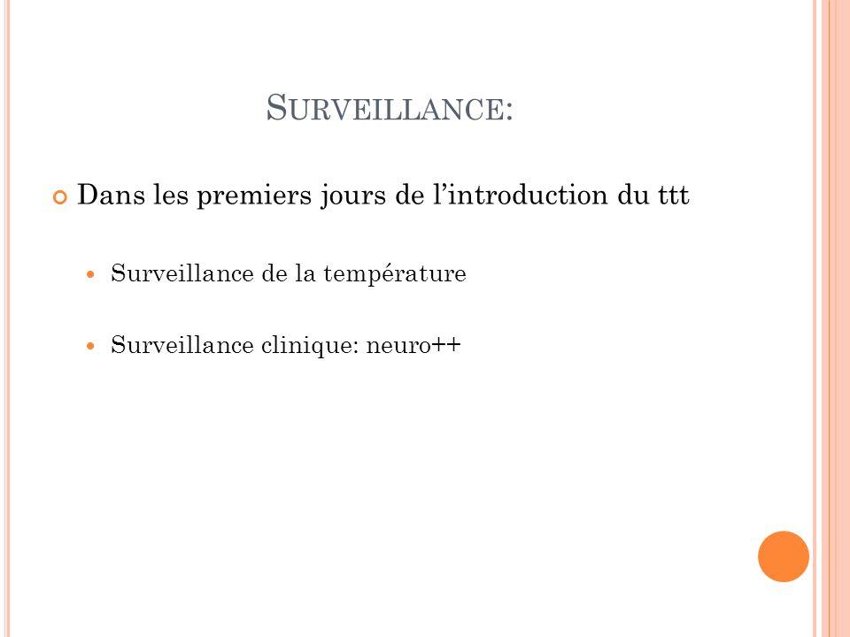 Surveillance: Dans les premiers jours de l'introduction du ttt