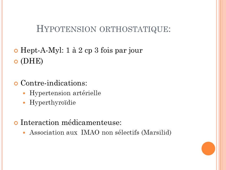 Hypotension orthostatique: