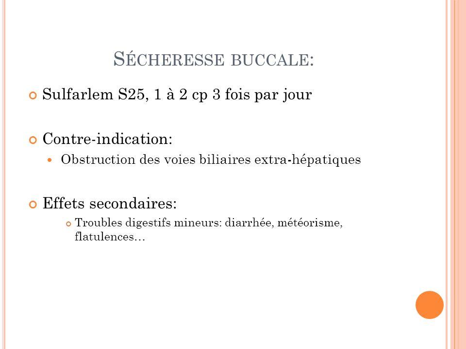 Sécheresse buccale: Sulfarlem S25, 1 à 2 cp 3 fois par jour