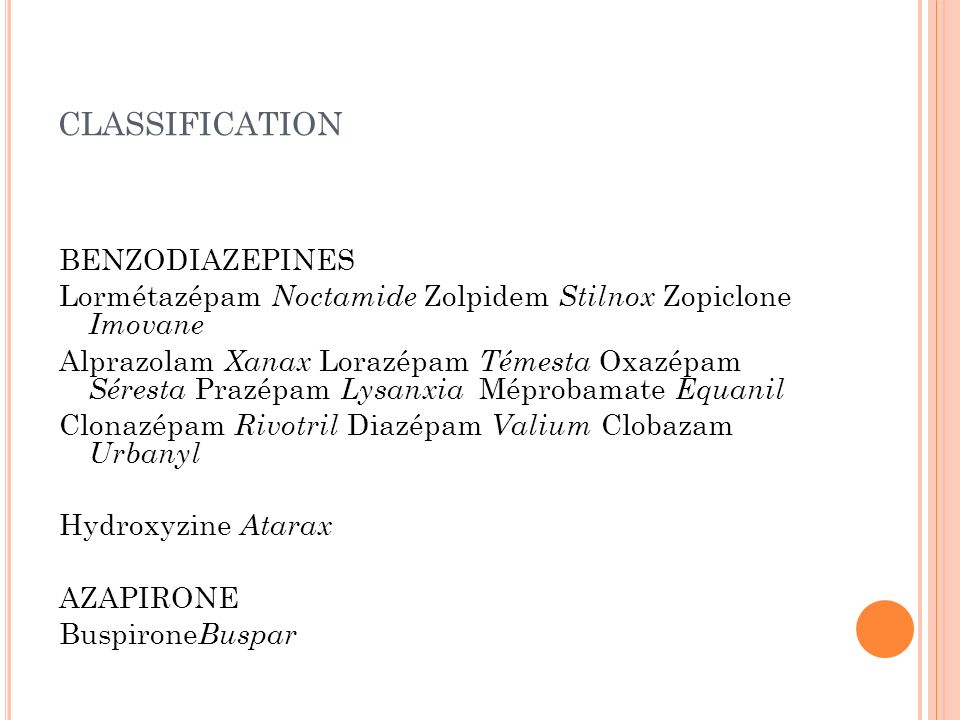 classification BENZODIAZEPINES
