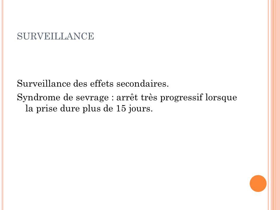 surveillance Surveillance des effets secondaires.