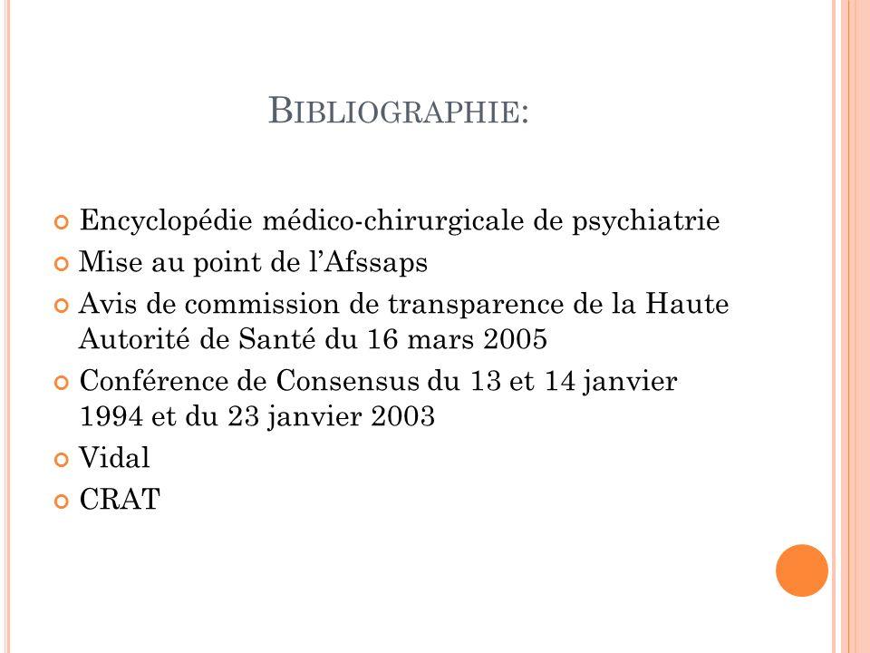 Bibliographie: Encyclopédie médico-chirurgicale de psychiatrie