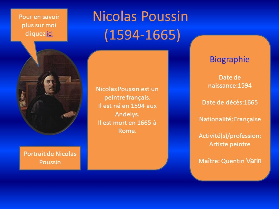 Nicolas Poussin (1594-1665) Biographie