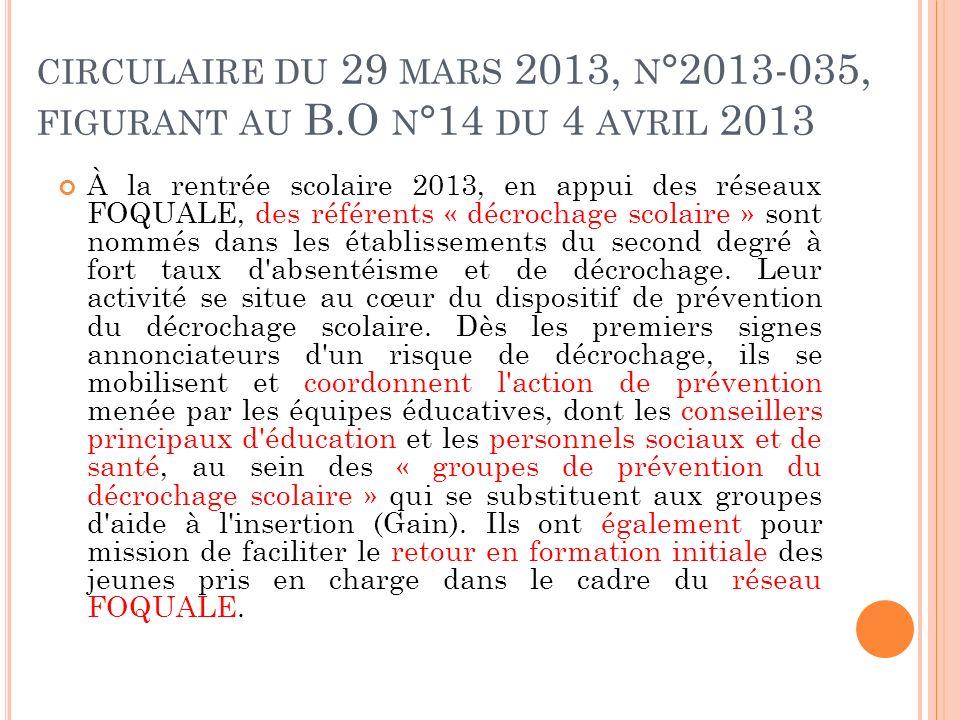 circulaire du 29 mars 2013, n°2013-035, figurant au B