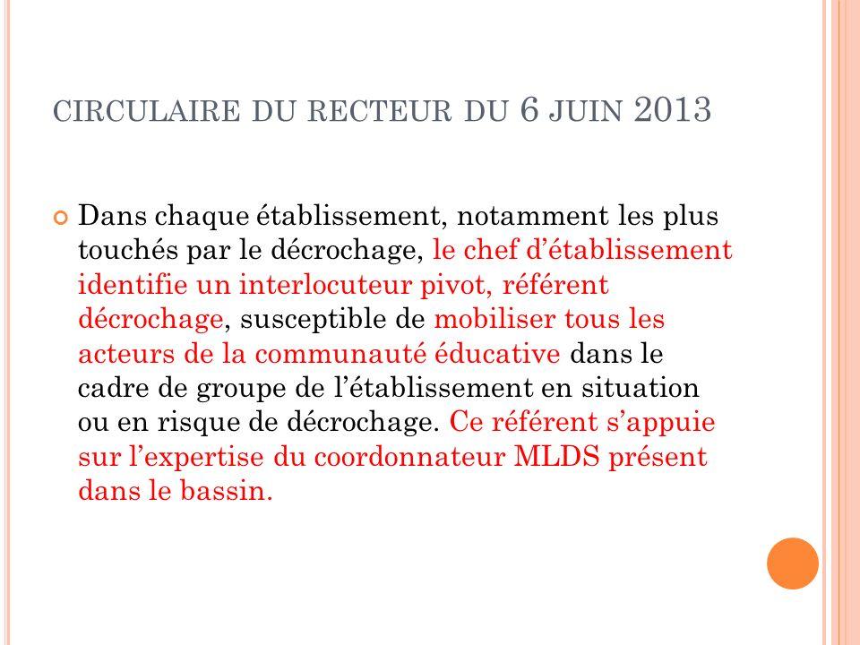 circulaire du recteur du 6 juin 2013