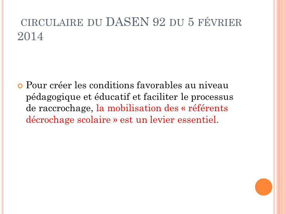 circulaire du DASEN 92 du 5 février 2014