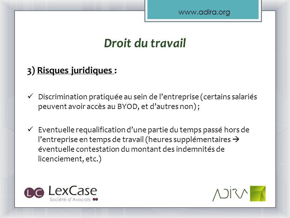 Droit du travail 3) Risques juridiques :