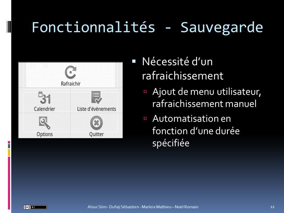 Fonctionnalités - Sauvegarde