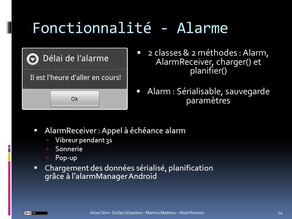 Fonctionnalité - Alarme