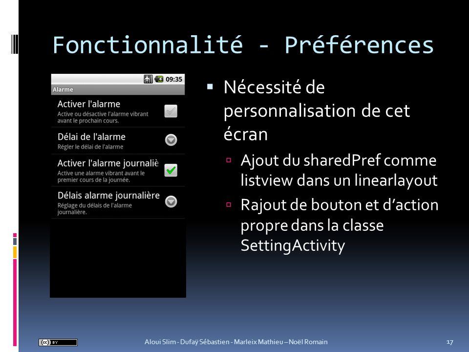 Fonctionnalité - Préférences
