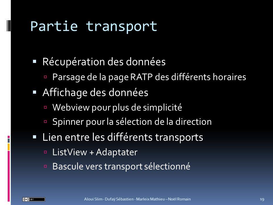 Partie transport Récupération des données Affichage des données