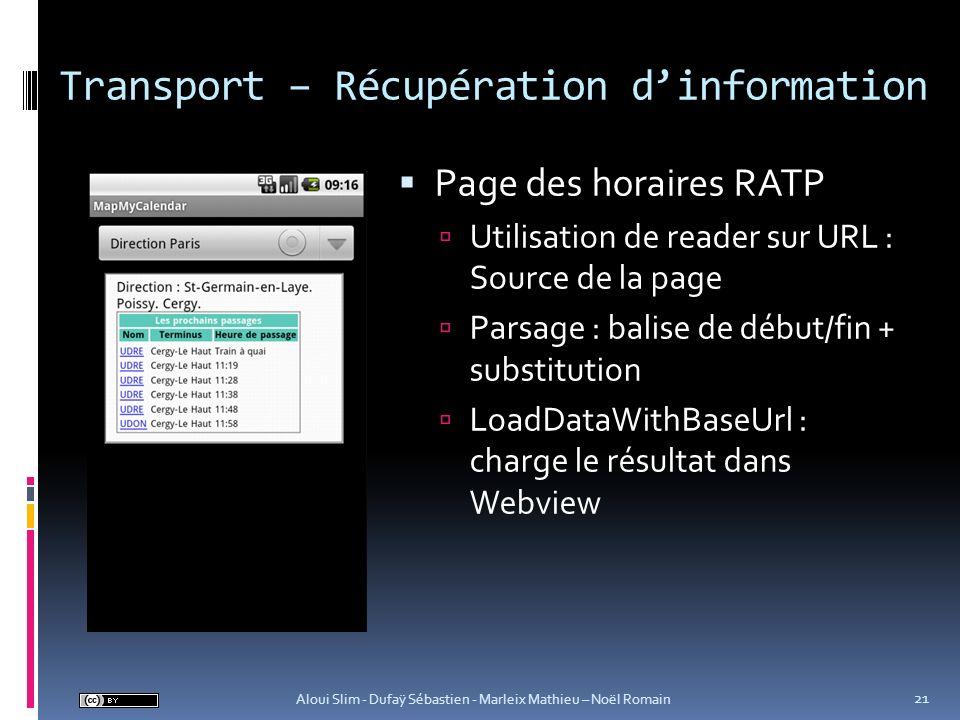 Transport – Récupération d'information