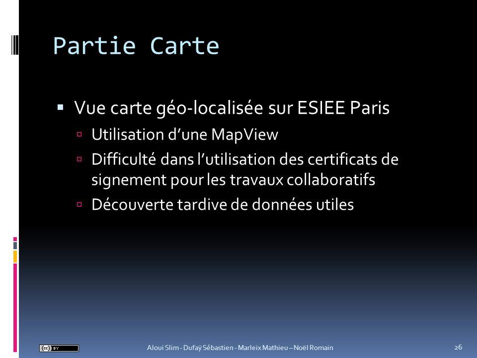 Partie Carte Vue carte géo-localisée sur ESIEE Paris