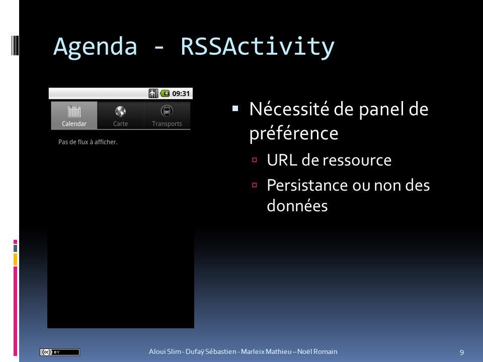 Agenda - RSSActivity Nécessité de panel de préférence URL de ressource