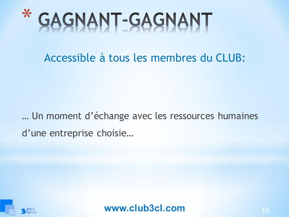 Accessible à tous les membres du CLUB: