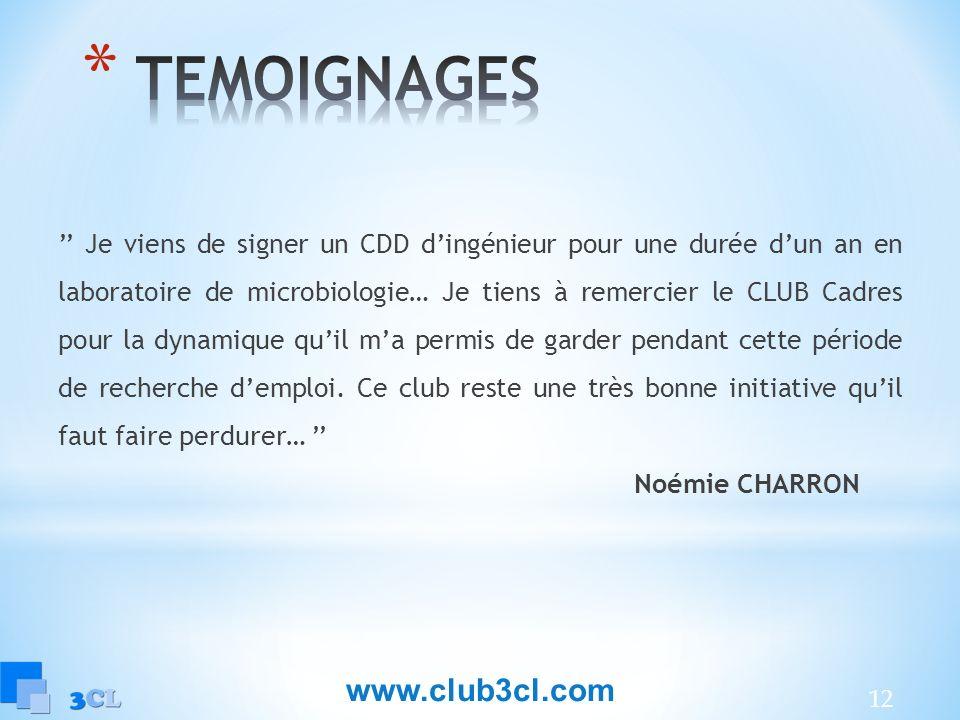 TEMOIGNAGES www.club3cl.com