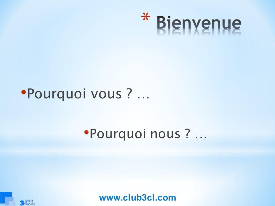 Bienvenue Pourquoi vous … Pourquoi nous … www.club3cl.com