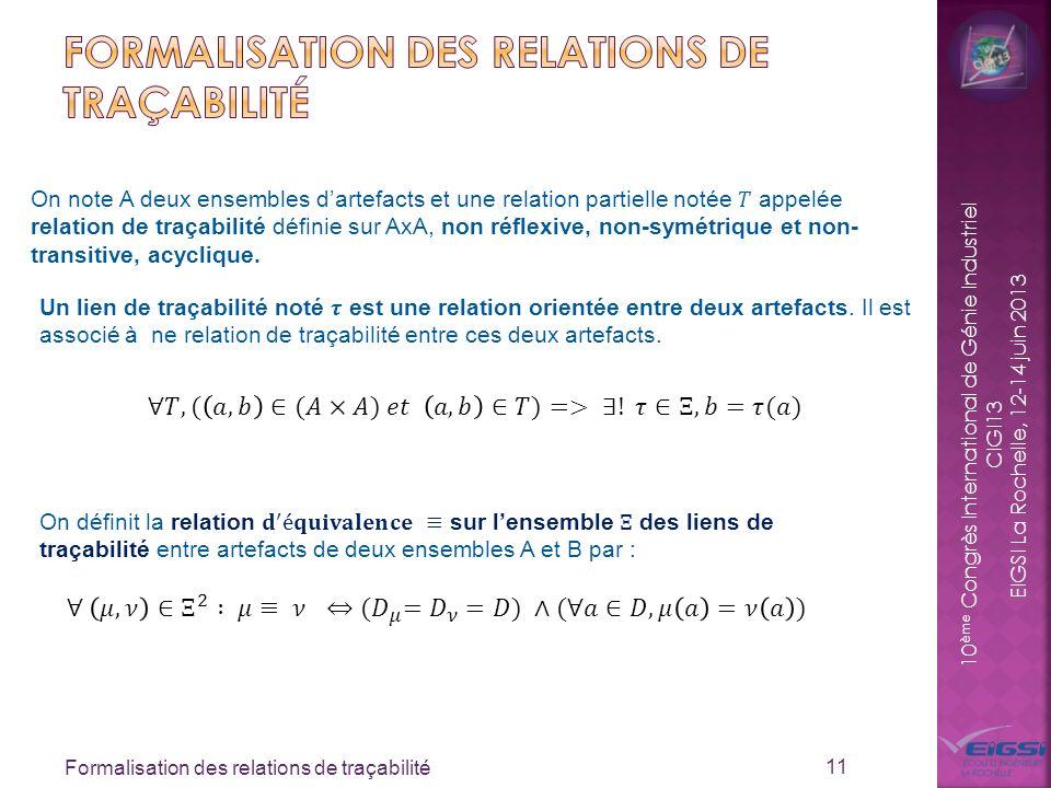 Formalisation des relations de traçabilité